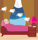 Old lady counting sheep to fall asleep — Stock Vector