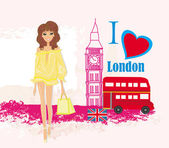 Beautiful woman in London , abstract card with icons of London — Vettoriale Stock