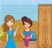 Menina com máquina de costura e cliente elegante — Vetorial Stock