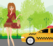 Elegant woman waiting for a taxi — Vector de stock