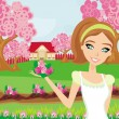 Beautiful woman plant flowers in the garden — Stock Vector #43134589