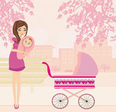 Mother and daughter in the park — Stock Vector