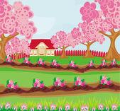 Jardín lleno de flores — Vector de stock
