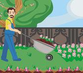 Gardener planting flowers — Stock Vector