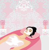 Woman with mask on his face relaxes in the spa salon — Stock Vector