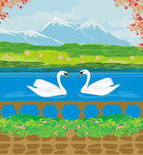 Vector landscape with mountains and swans on the lake  — Stock vektor