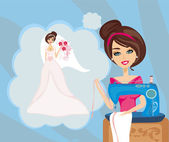 Girl with sewing machine, dreams of a beautiful wedding dress — Stock Vector