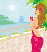 Girl on vacation drinking a red wine — Stock Vector