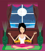 Girl sits and meditates  — Stock Vector