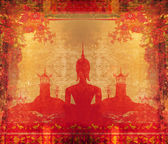 Silhouette of a Buddha,Asian landscape in grunge texture — Stock Photo