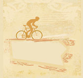 Cycling man silhouette Grunge Poster Template vector — 图库矢量图片