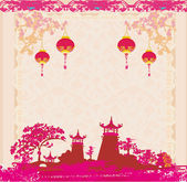 Old paper with Asian Landscape and Chinese Lanterns - vintage ja — Stock Vector