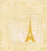 Vintage retro Eiffel tower in Paris card — 图库矢量图片