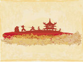 Samurai silhouette in abstract Asian Landscape — Stockvektor