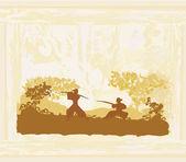 Samurai silhouette in abstract Asian Landscape — Stock Vector