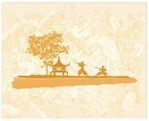 Silhouette de samouraï dans le résumé du paysage asiatique — Vecteur
