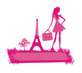Fashion slim women silhouette Shopping in Paris - vector card  — Vettoriale Stock