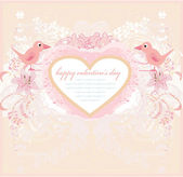 Valentine's day greeting card with 2 sweet love birds — Stock Vector