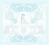Convite de casamento elegante com casal de noivos — Vetor de Stock