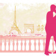 Romantic couple silhouette in Paris kissing near the Eiffel Towe — Stock Vector #43421305