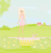 Girl and her puppy on rural landscape — Stock Vector