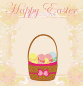 Happy easter border with eggs card — Stock Vector