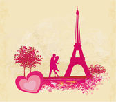 Romantic couple silhouette in Paris kissing near the Eiffel Tower. — Stock Vector