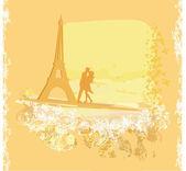 Romantic couple silhouette in Paris kissing near the Eiffel Towe — Stock Vector