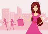 Happy fashion girl on Shopping in the city illustration  — Stock Vector