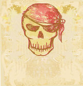 Skull Pirate - retro card — Stok Vektör