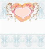 Happy valentine's day card with cupid  — Vetor de Stock