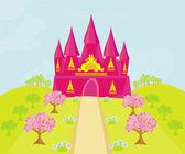 Castelo de princesa de conto de fadas mágico — Vetorial Stock