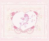 Happy valentine's day card with cupid — Stockvektor