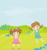 Sweet happy little girls with flowers in the park — Stock Vector
