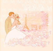 Romantic wedding couple in Paris kissing near the Eiffel Tower.  — Stock Vector