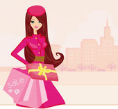 Fashion shopping girl with shopping bags and gift box  — Stock Vector
