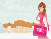 Fashion winter girl with shopping bags  — Stock Vector