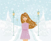 Fashion girl on winter landscape — Stock Vector