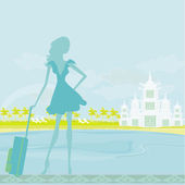 Beauty travel girl silhouette with baggage on vacation — Stock Vector