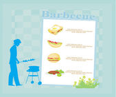 Man cooking on his barbecue. Invitation card. — Stockvektor