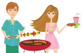 Young couple on barbecue Party  — Stock Vector