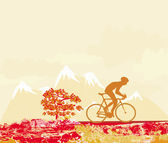Cycling man silhouette grunge Poster  — Stock vektor