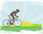 Cycling man silhouette grunge Poster — Stok Vektör