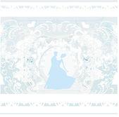 αίθουσα χορού γάμο ζευγάρι χορευτές σιλουέτα - προσκλητήριο — Διανυσματικό Αρχείο