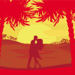Silhouette couple kissing on tropical beach  — Stock Vector #43490685