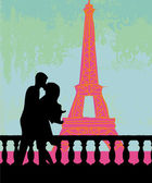 Romantic couple silhouette in Paris kissing near the Eiffel Tower — Stock Vector