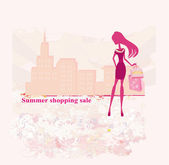 Fashion silhouettes girl Shopping in the city  — Stock Vector