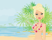 Summer sexy beach girl  — Stock Vector