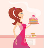 Housewife cooking cake in the kitchen — Stock Vector