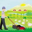 A vector illustration of a man mowing the lawn — Vector de stock